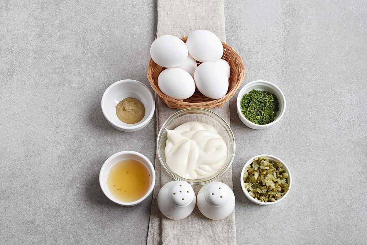 Ingridiens for Dill Pickle Deviled Eggs