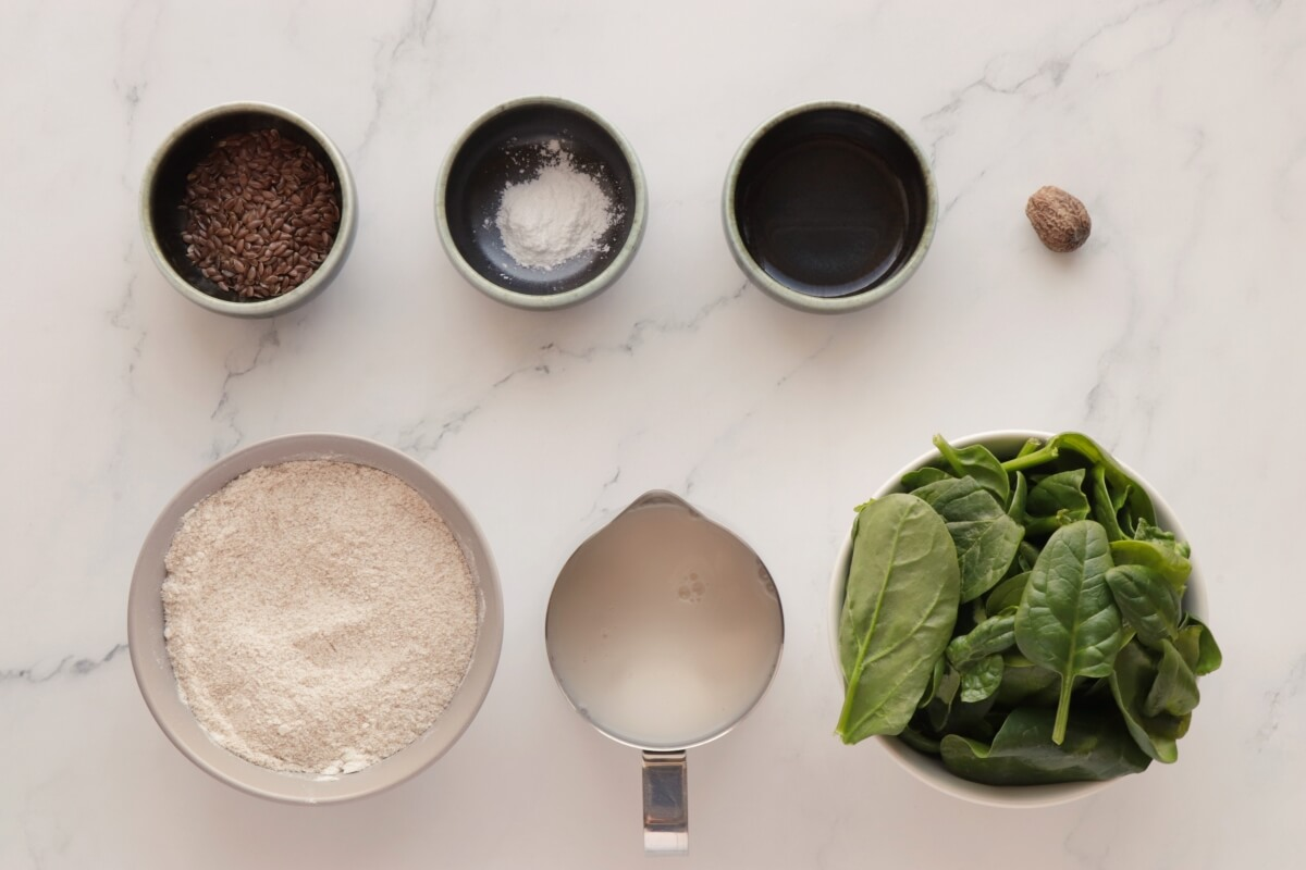 Ingridiens for Healthy Green Spinach Pancakes