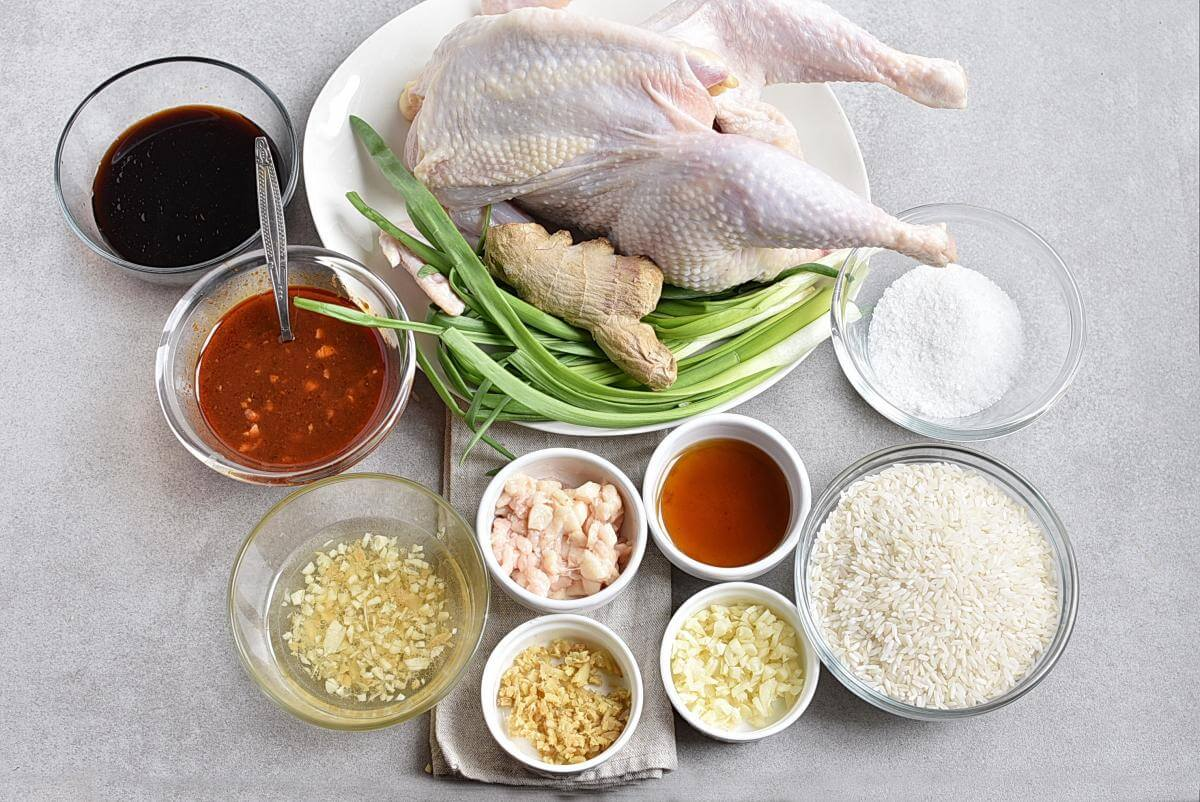 Ingridiens for Hainanese Chicken Rice