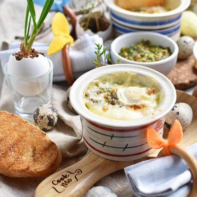 Mint-Pesto Baked Eggs Recipes–Homemade Mint-Pesto Baked Eggs–Eazy Mint-Pesto Baked Eggs