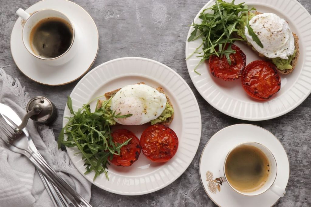 How to serve Poached Eggs with Smashed Avocado and Tomatoes