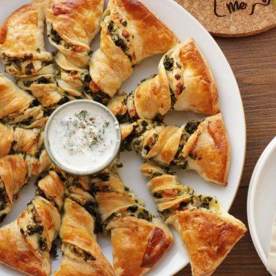 Spinach and Feta Tarte Soleil Recipe-Savory Tarte Soleil-Puff Pastry Spinach Tart