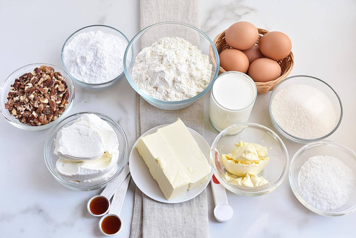 Ingridiens for The Best Homemade Italian Cream Cake