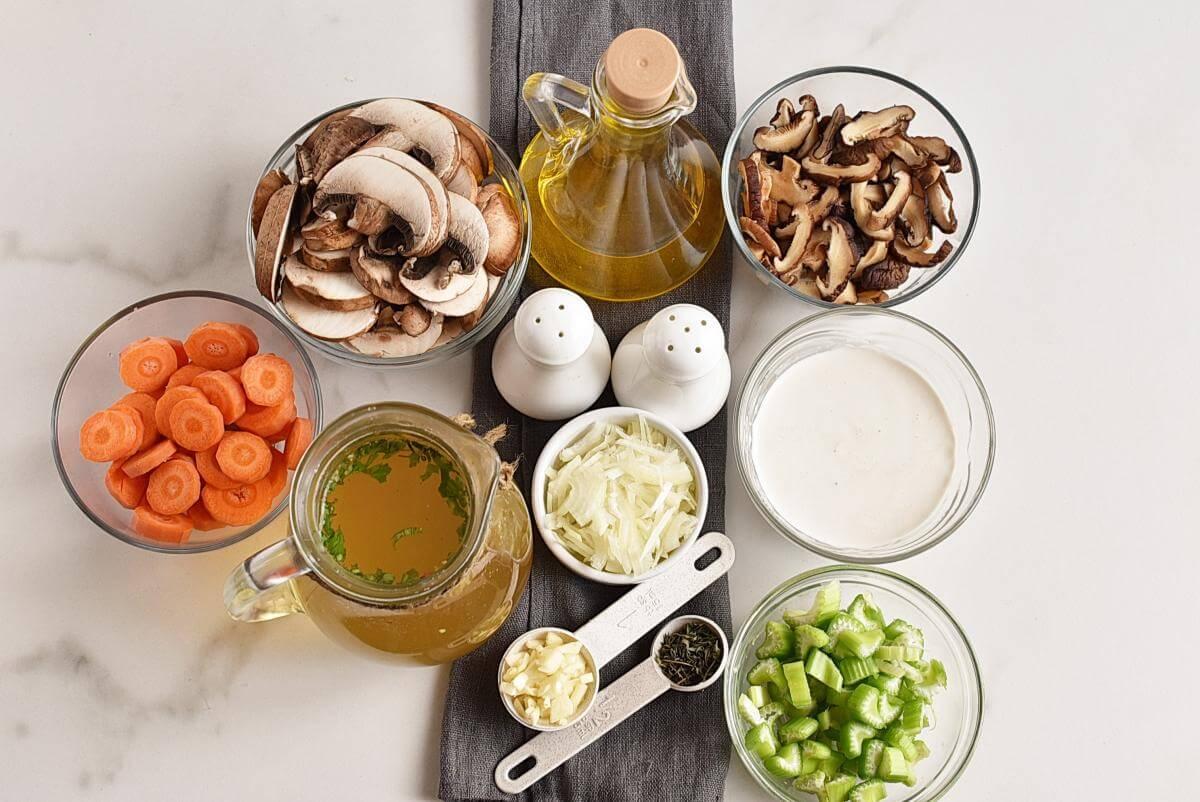 Ingridiens for Vegan Instant Pot Mushroom Soup