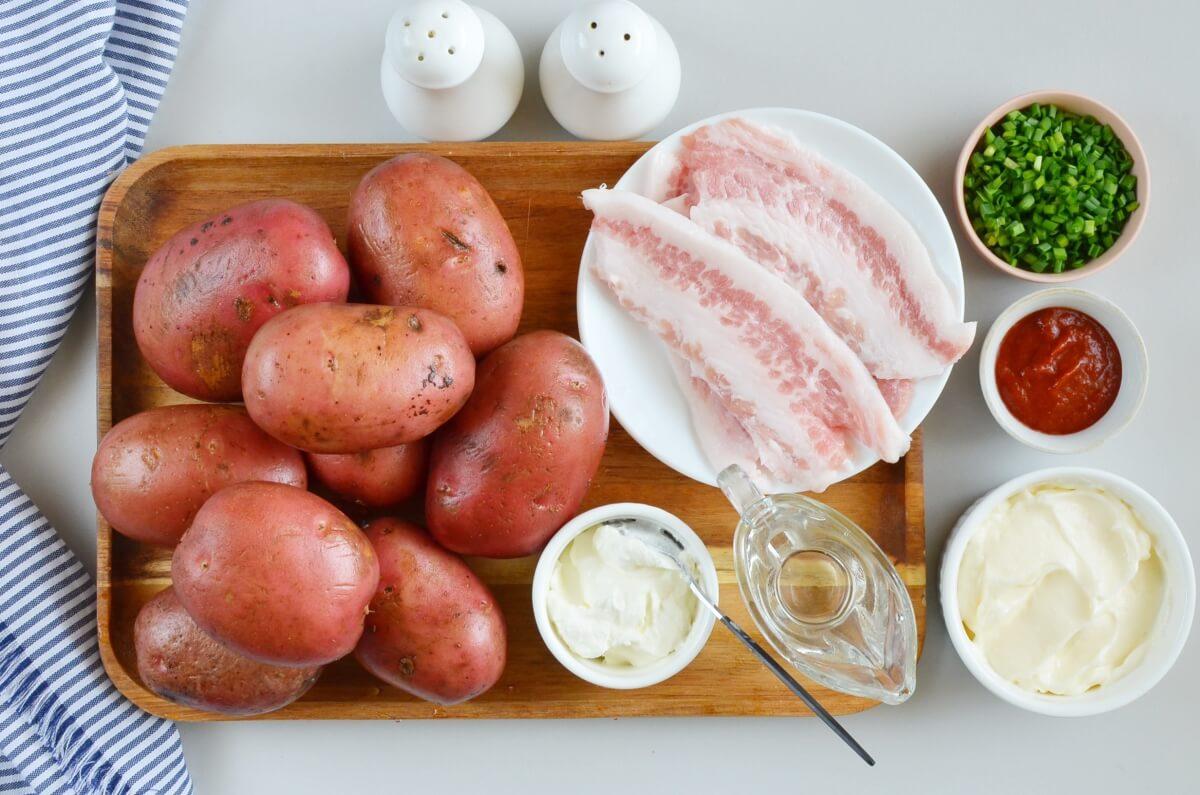 Ingridiens for Bacon Sriracha Potato Salad