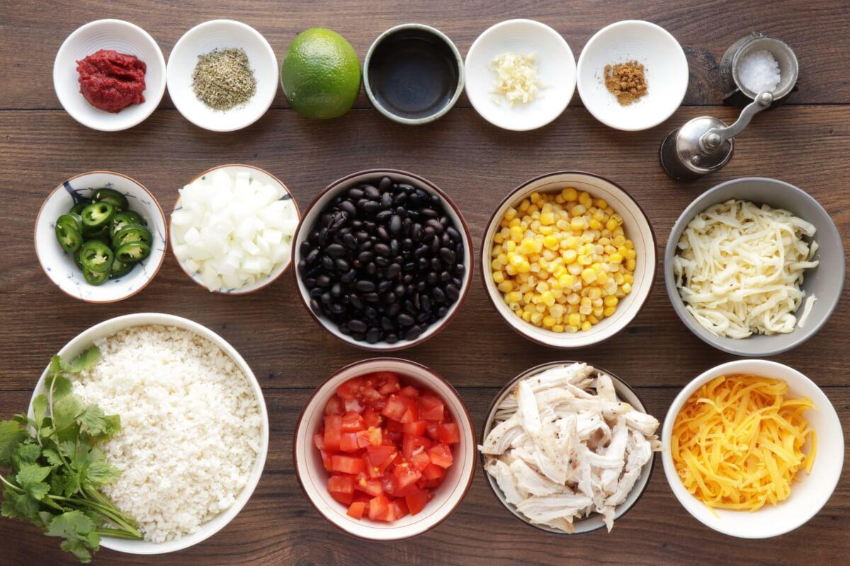 Ingridiens for Cheesy Chicken & Black Bean Cauli Rice