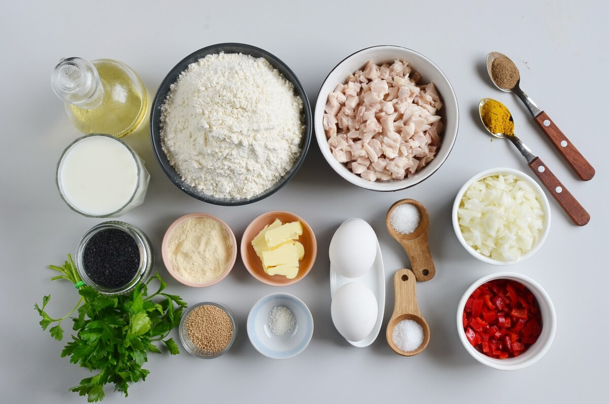 Ingridiens for Easy Braided Chicken Bread