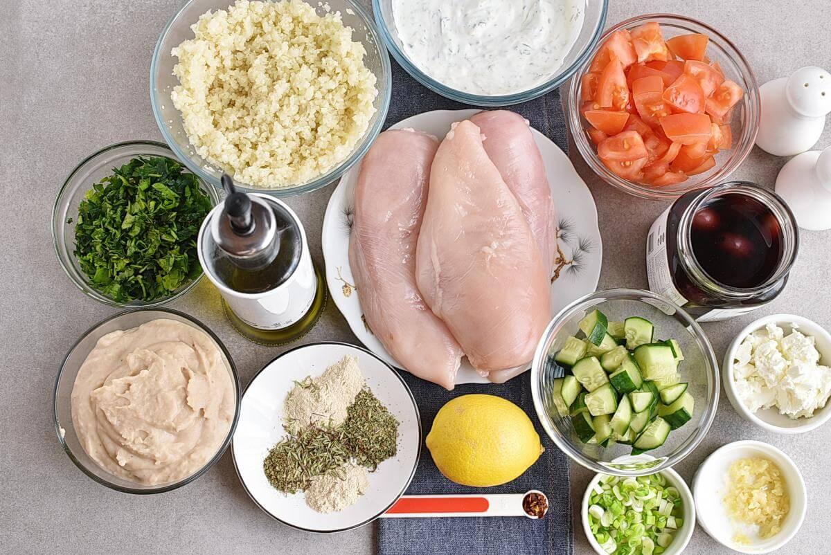Ingridiens for Greek Healthy Chicken Meal Prep Recipe
