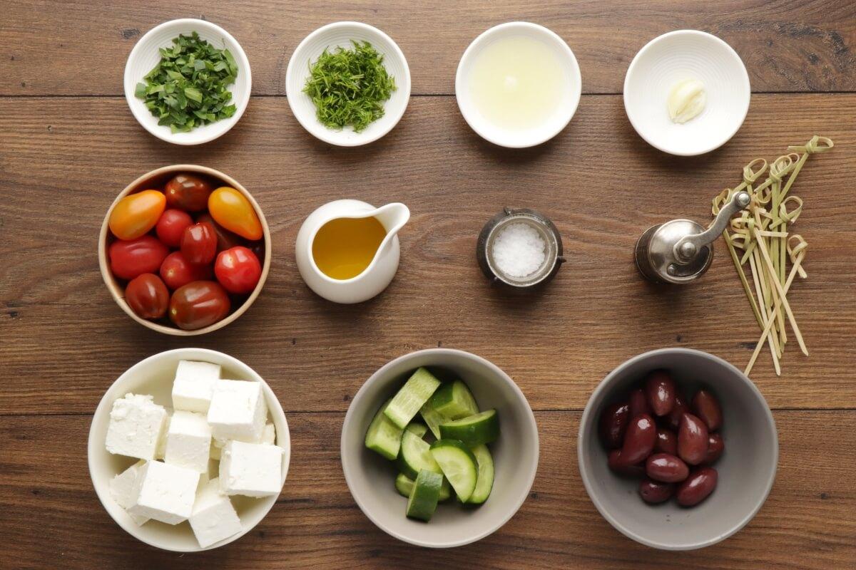 Ingridiens for Greek Salad Skewers