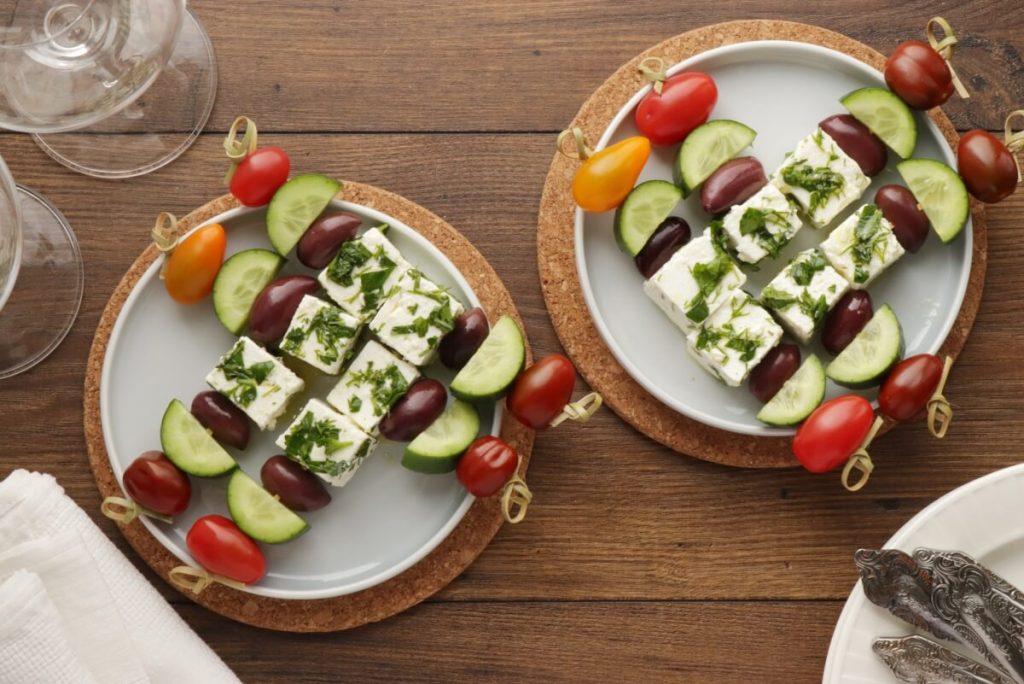 How to serve Greek Salad Skewers