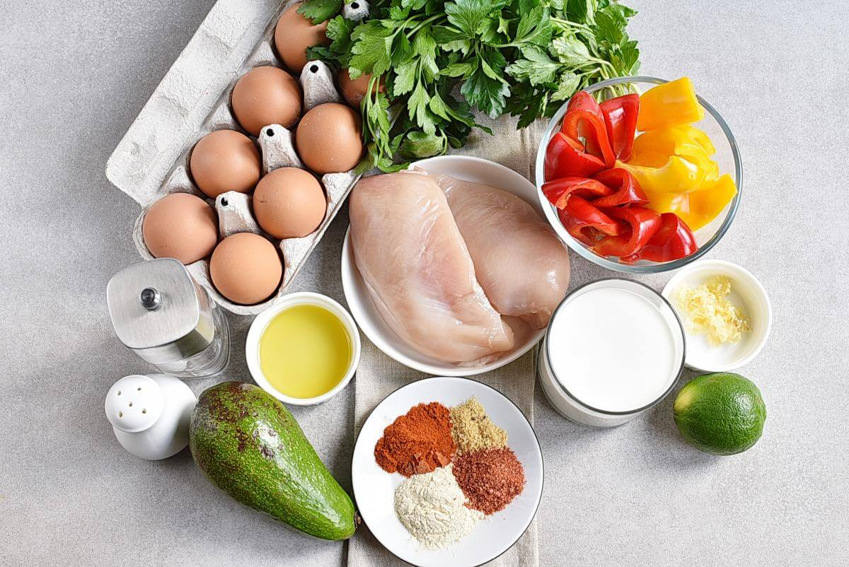 Ingridiens for Healthy Mexican Chicken Meal Prep