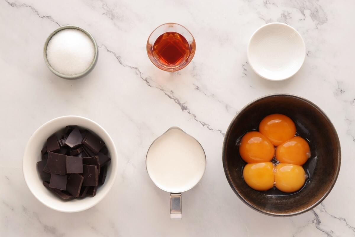 Ingridiens for Low-Carb Chocolate Truffle Crème Brûlée
