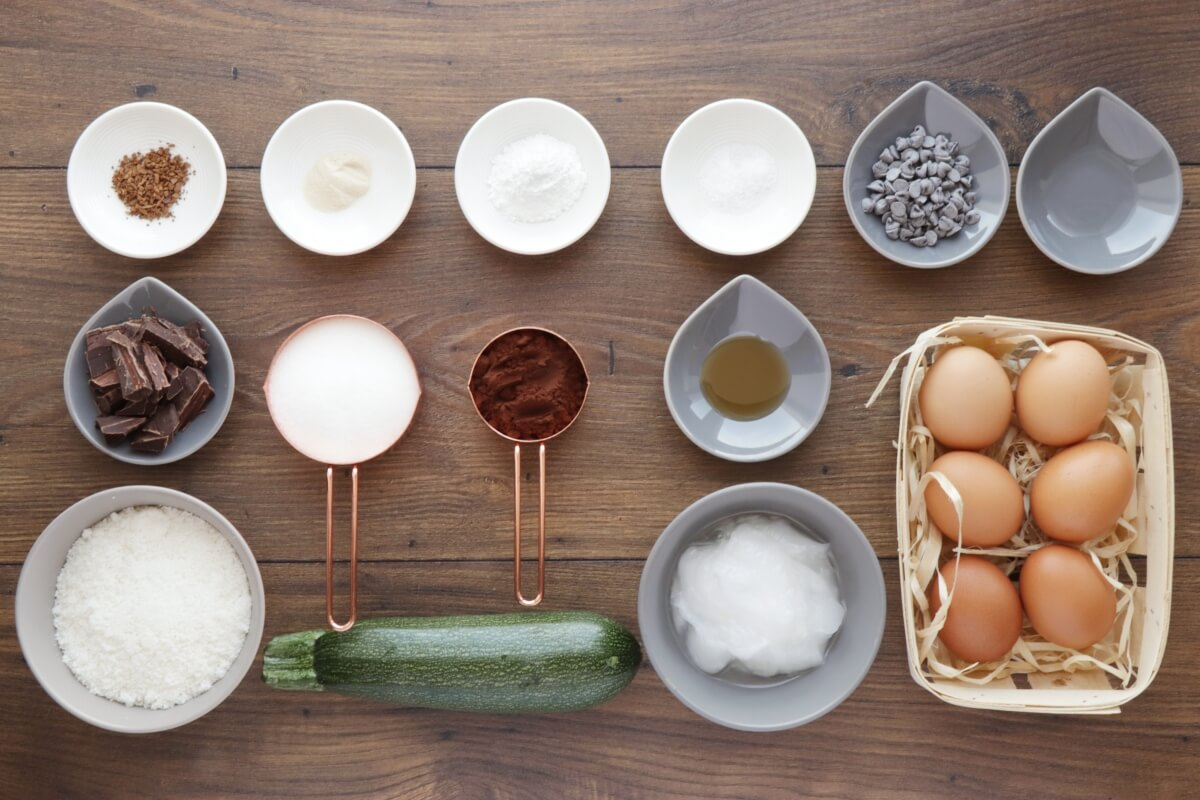 Ingridiens for Low-Carb Chocolate Zucchini Muffins
