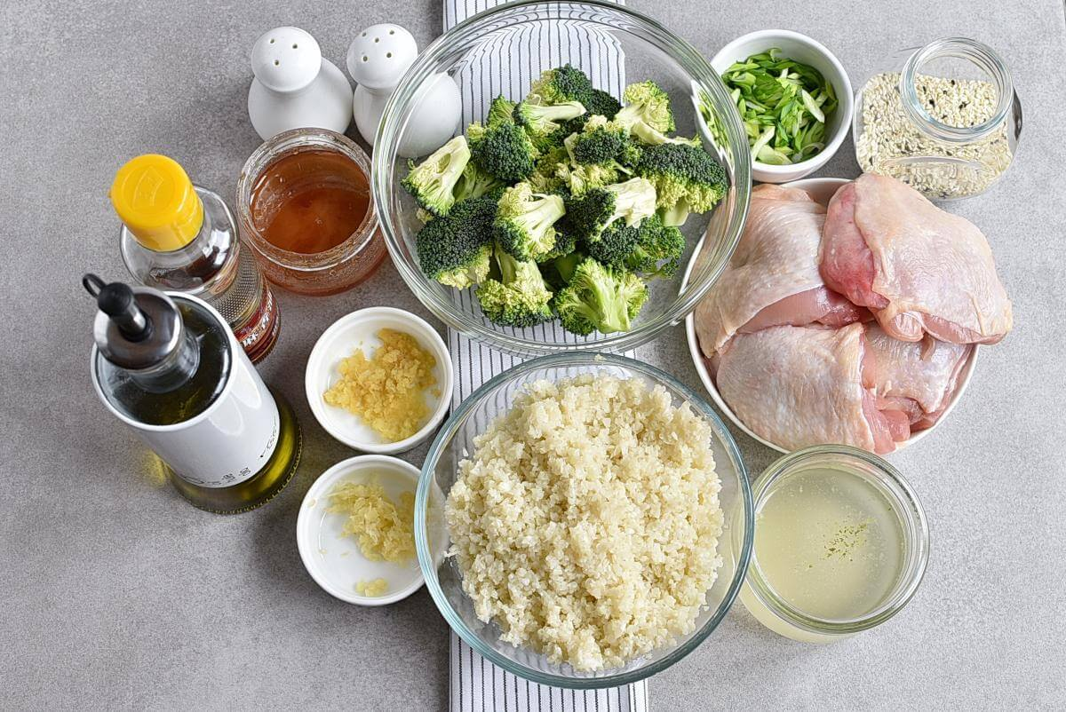 Ingridiens for Meal-Prep Honey Sesame Chicken with Broccoli
