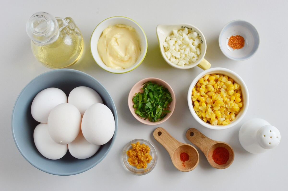 Ingridiens for Mexican Street Corn Deviled Eggs