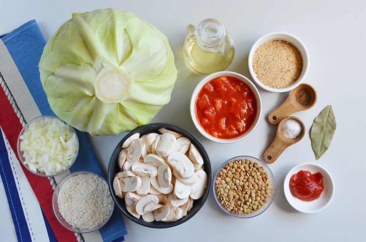 Ingridiens for Mushroom Stuffed Vegan Cabbage Rolls