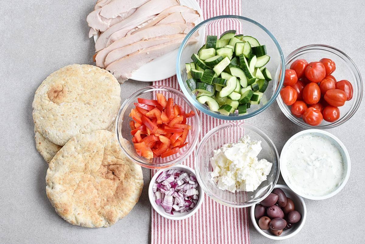 Ingridiens for No Cook Greek Pita Bento Box