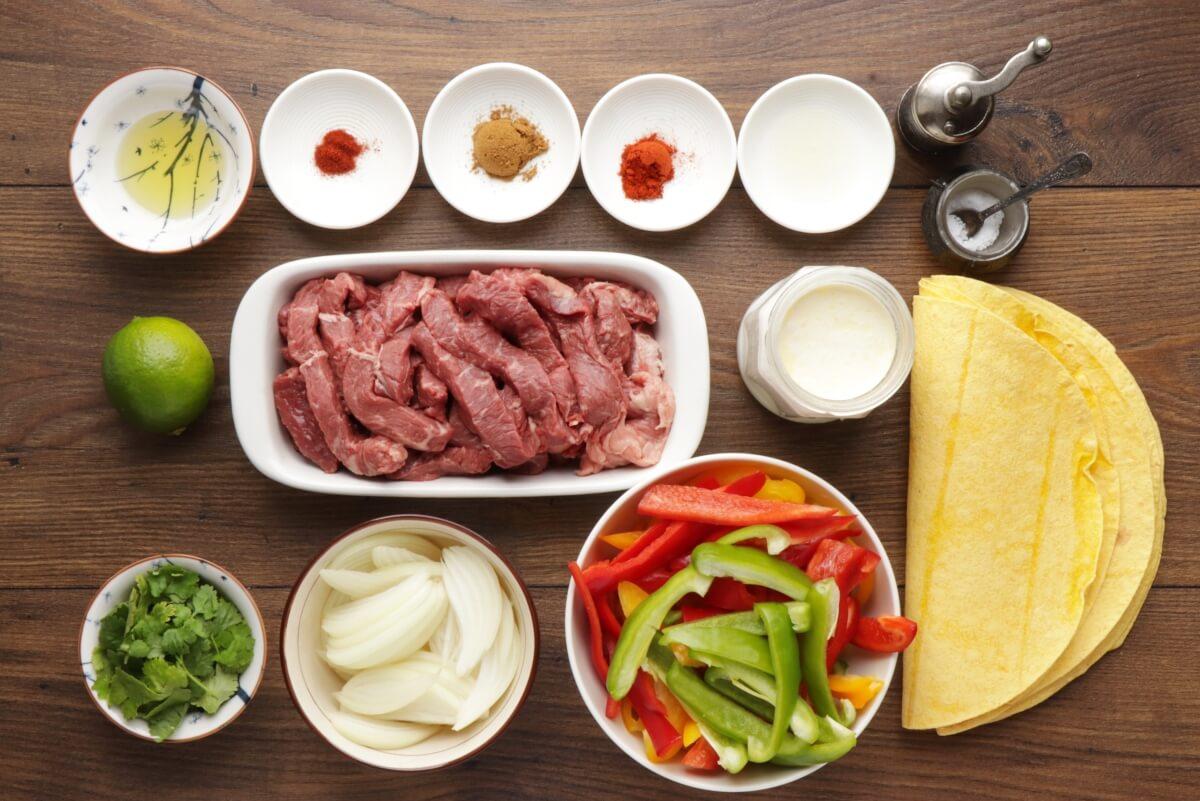 Ingridiens for Sheet Pan Steak Fajitas