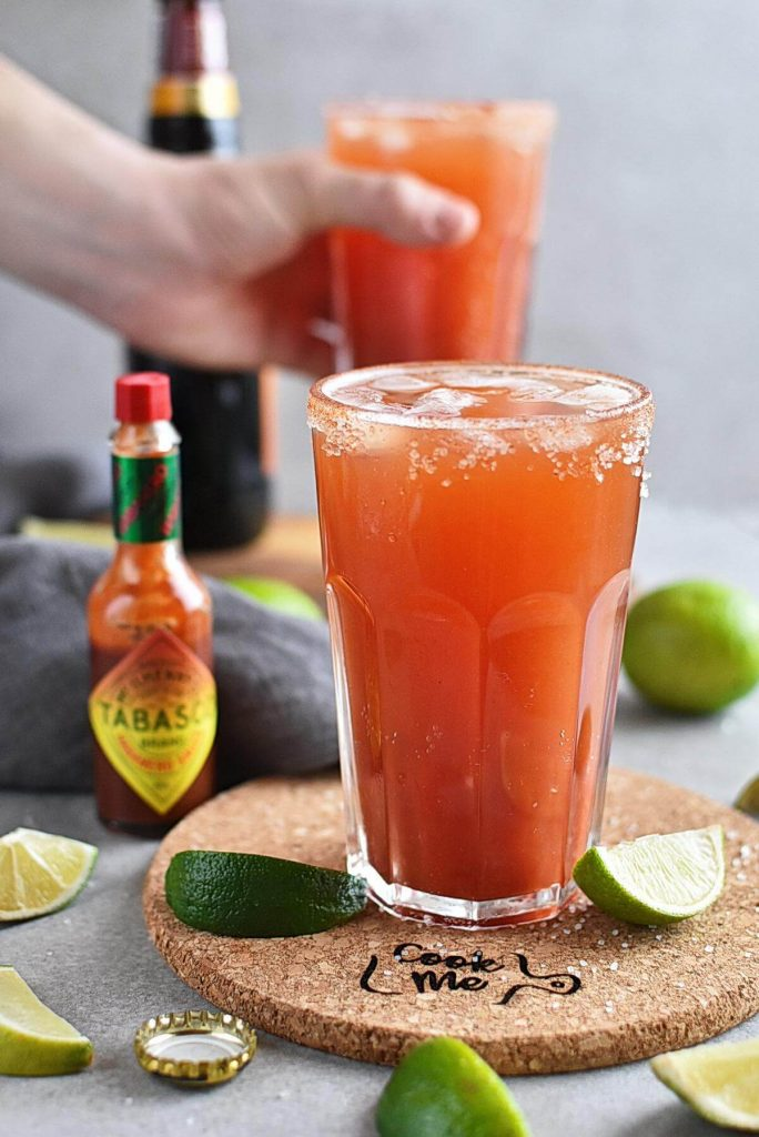 Refreshing clamato & beer cocktail