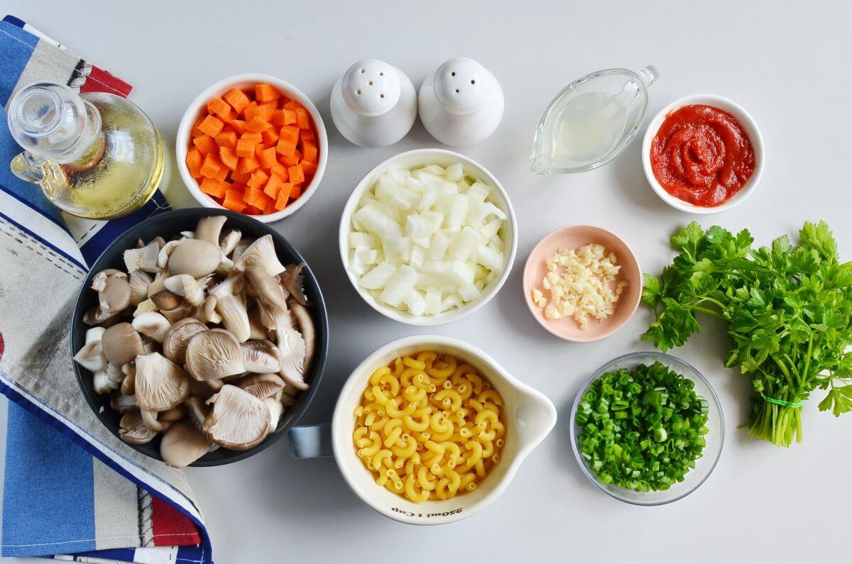 Ingridiens for Vegan Oyster Mushroom Soup