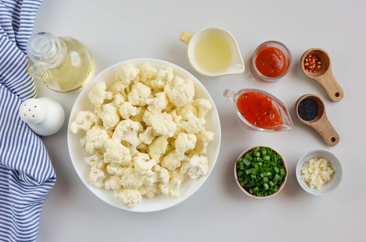 Ingridiens for Bang Bang Cauliflower Kebabs
