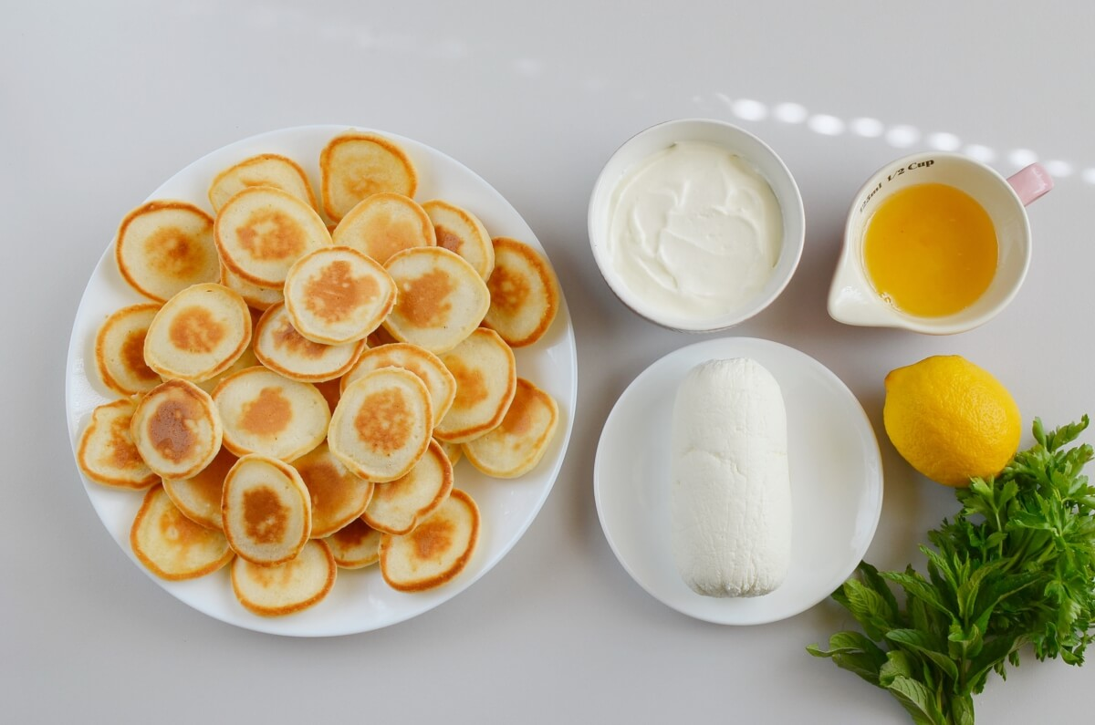 Ingridiens for Blinis with Whipped Goat's Cheese and Honey