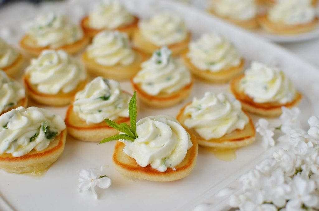 How to serve Blinis with Whipped Goat's Cheese and Honey