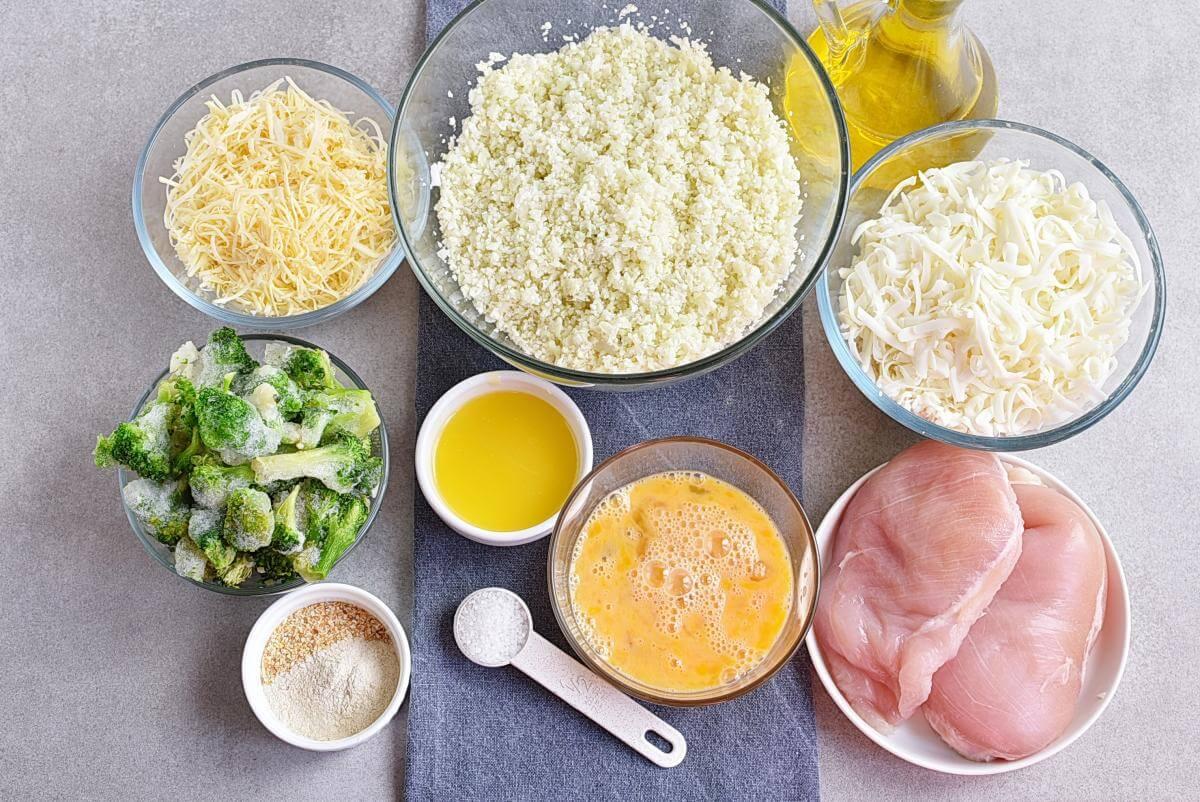 Ingridiens for Broccoli Cauliflower Rice Chicken Casserole