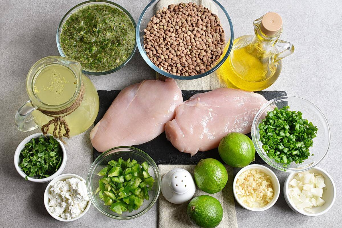 Ingridiens for Cilantro Lime Chicken and Lentil Rice Bowls