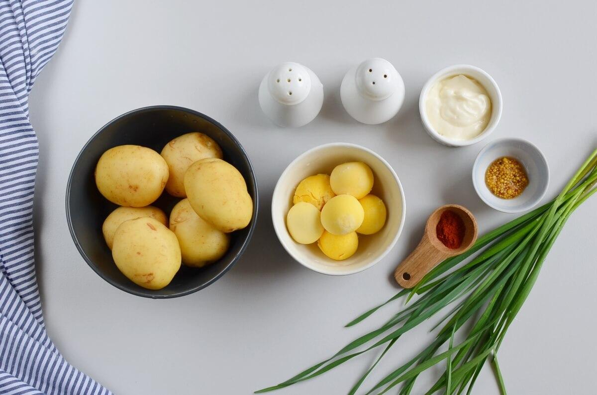 Ingridiens for Deviled Potatoes