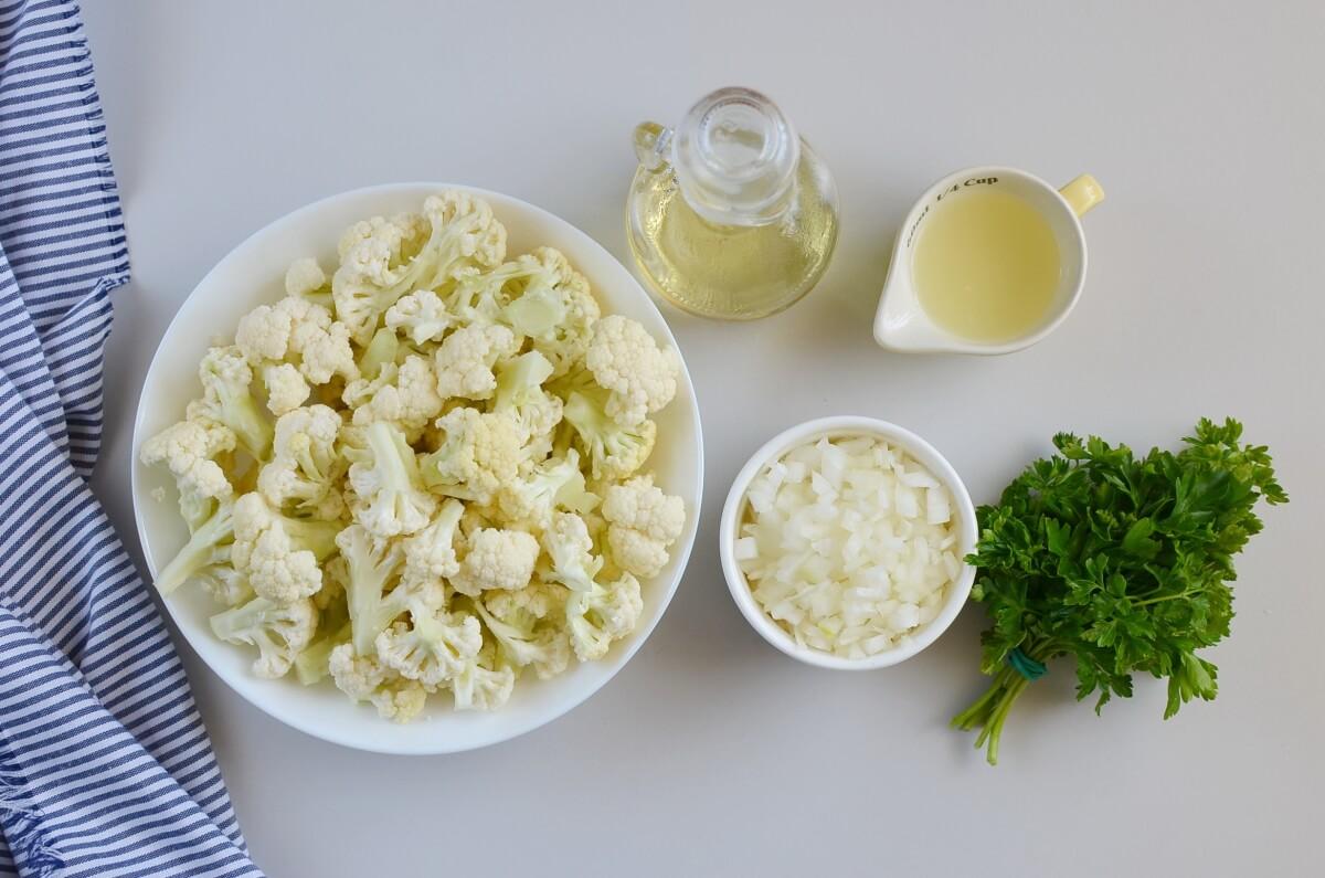 Ingridiens for Healthy Cauliflower Rice