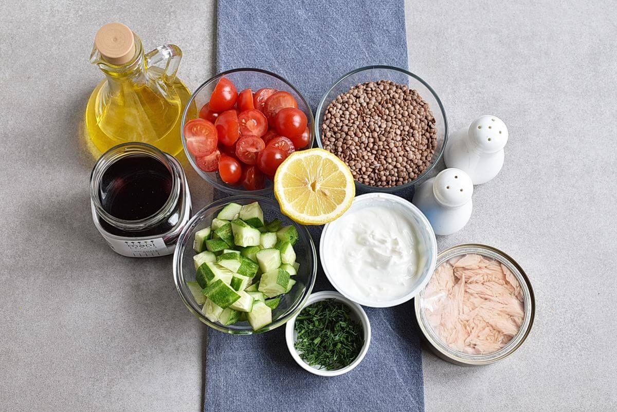 Ingridiens for Lentil Greek Salad with Dill Sauce
