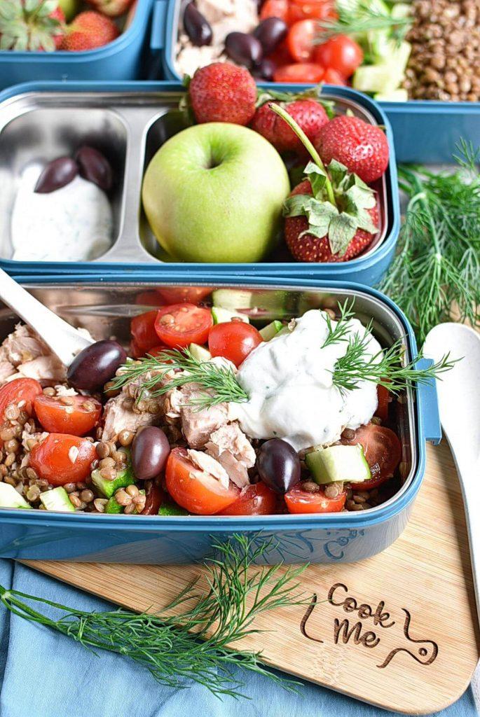 Lentil Greek Salad with Dill Sauce