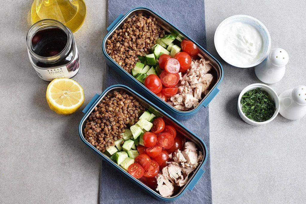Lentil Greek Salad with Dill Sauce recipe - step 2
