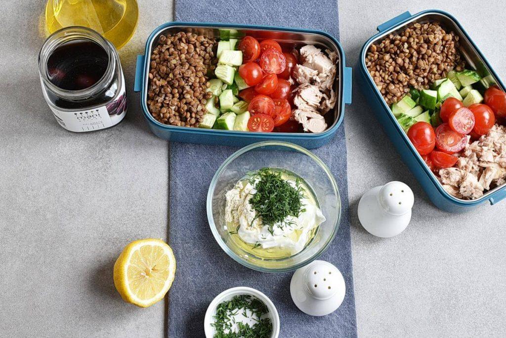 Lentil Greek Salad with Dill Sauce recipe - step 3