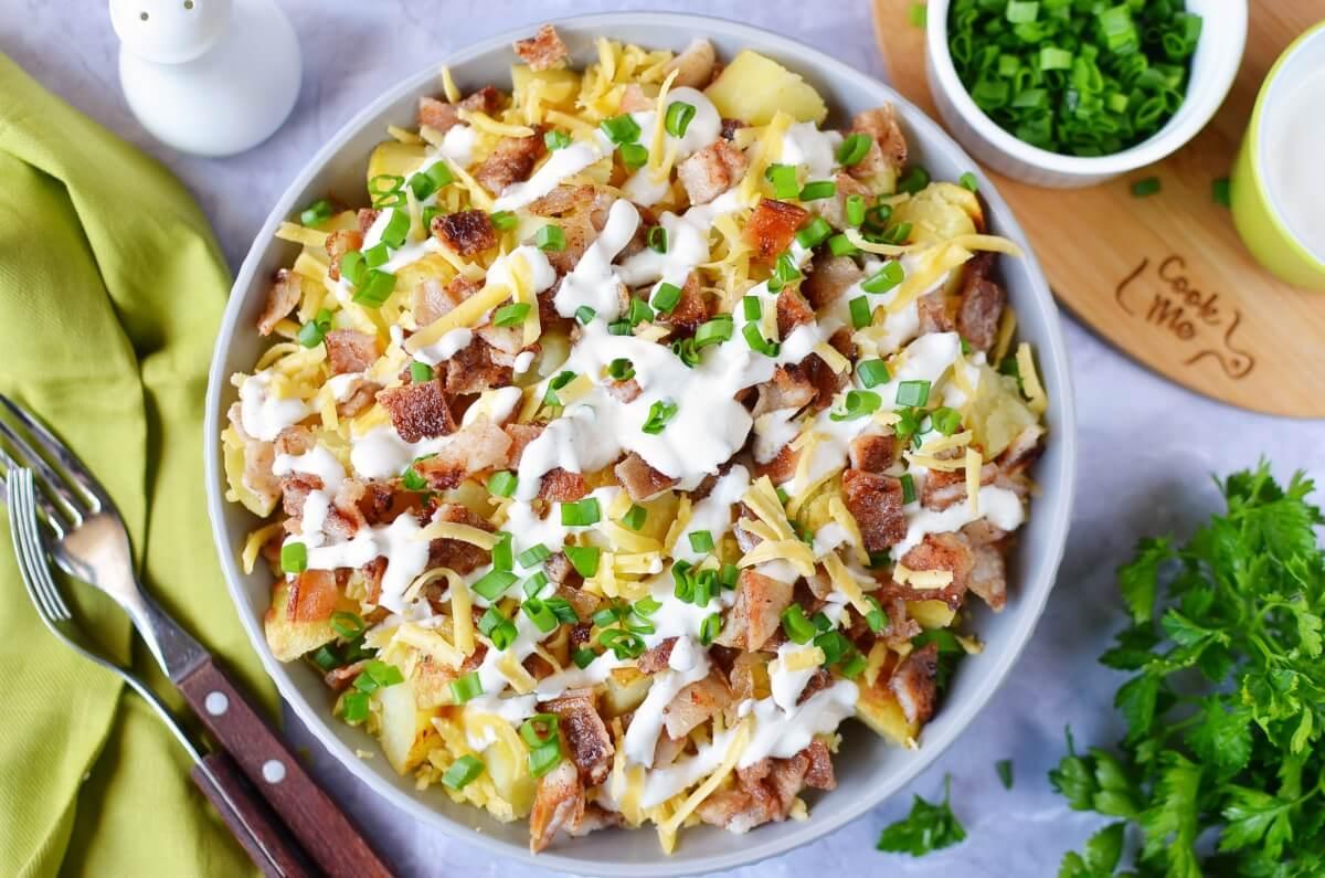 Loaded Baked Potato Salad Recipe-How To Make Loaded Baked Potato Salad-Delicious Loaded Baked Potato Salad