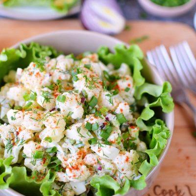 Low-Carb Cauliflower Potato Salad Recipe-How To Make Low-Carb Cauliflower Potato Salad-Delicious Low-Carb Cauliflower Potato Salad