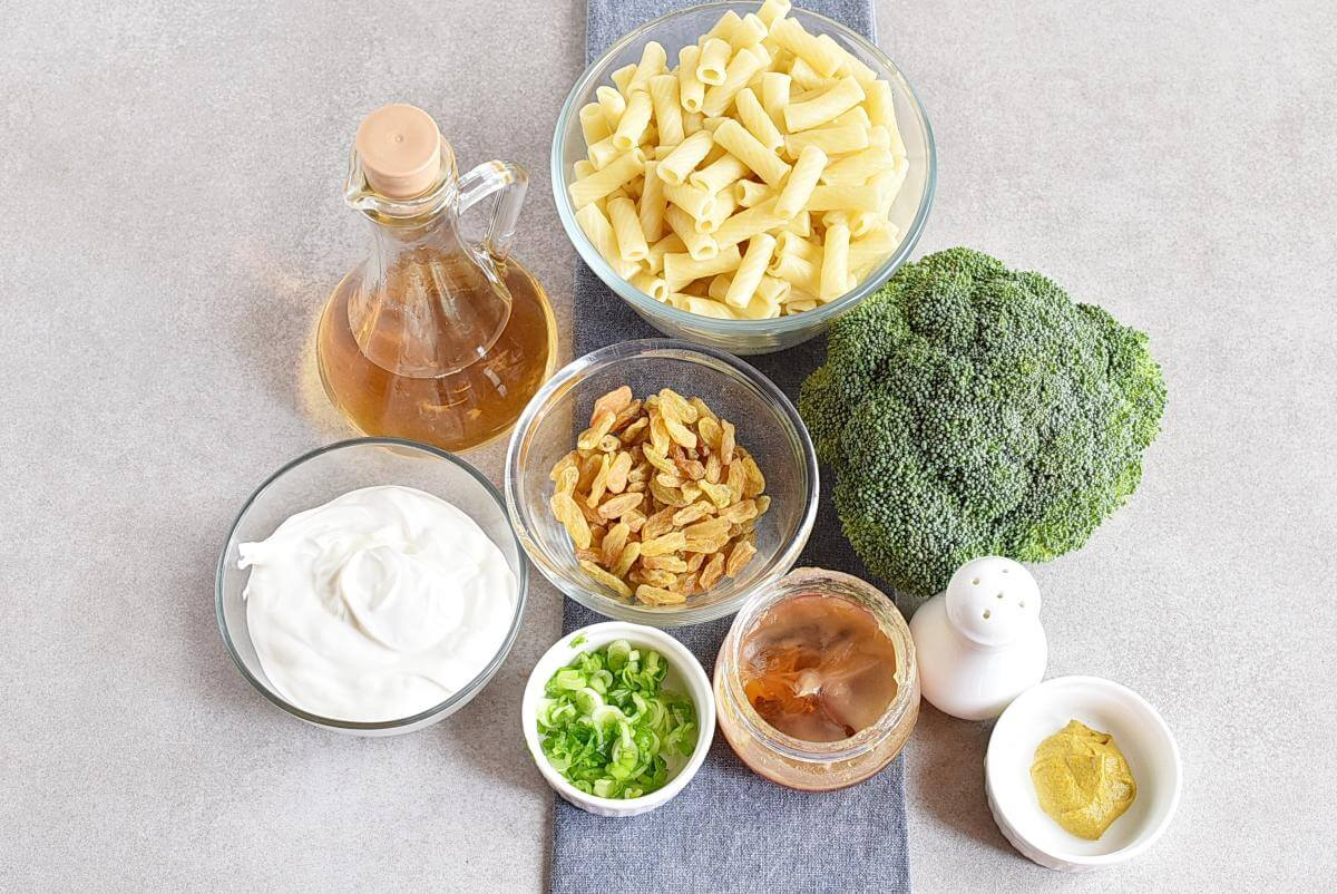 Ingridiens for Meal-Prep Creamy Pasta Salad with Broccoli and Raisins