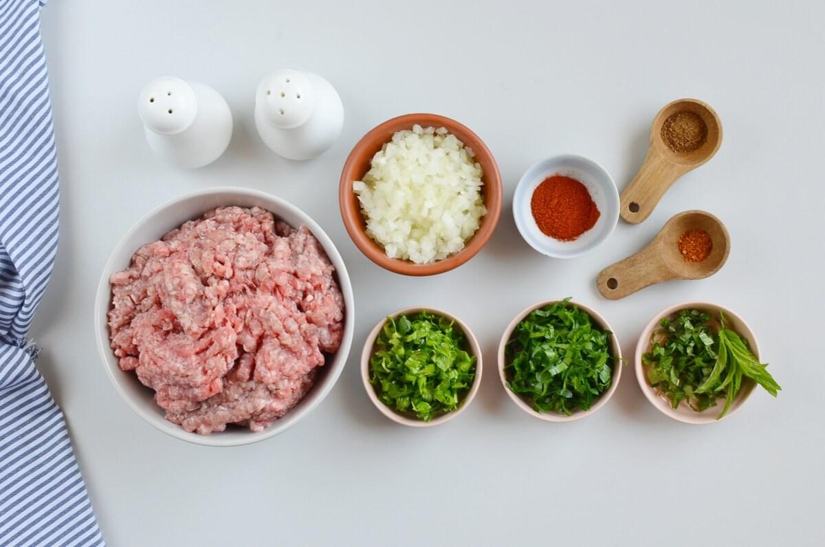 Ingridiens for Moroccan Kefta Kebab