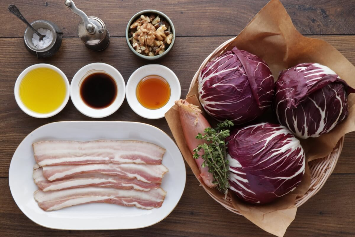 Ingridiens for Roasted Balsamic Radicchio with Pancetta