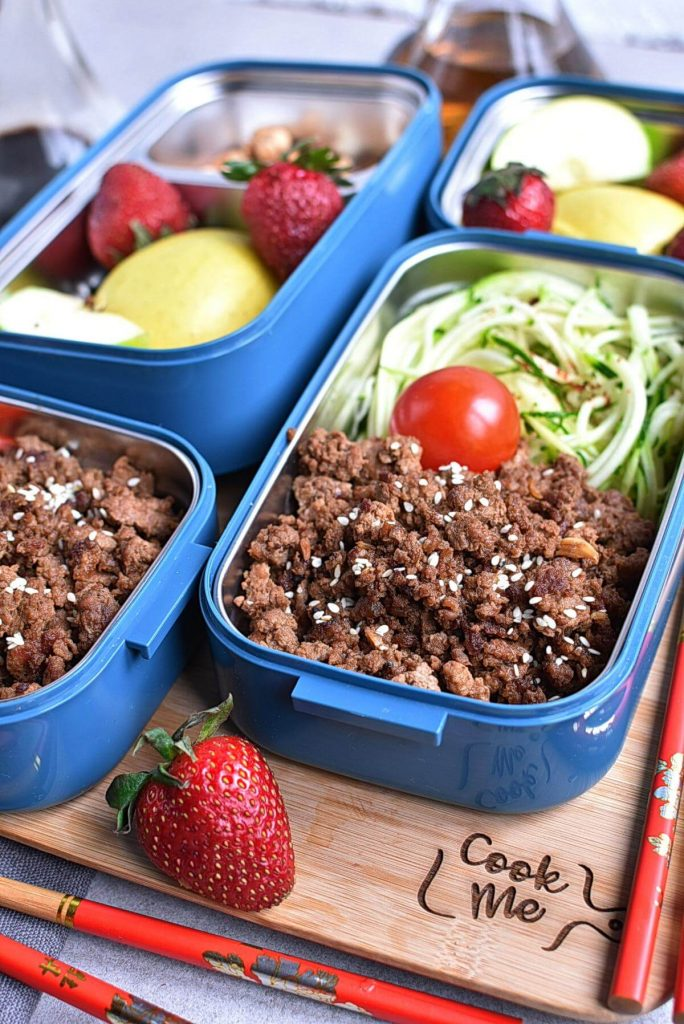 Sesame Ginger Beef Zucchini Noodles