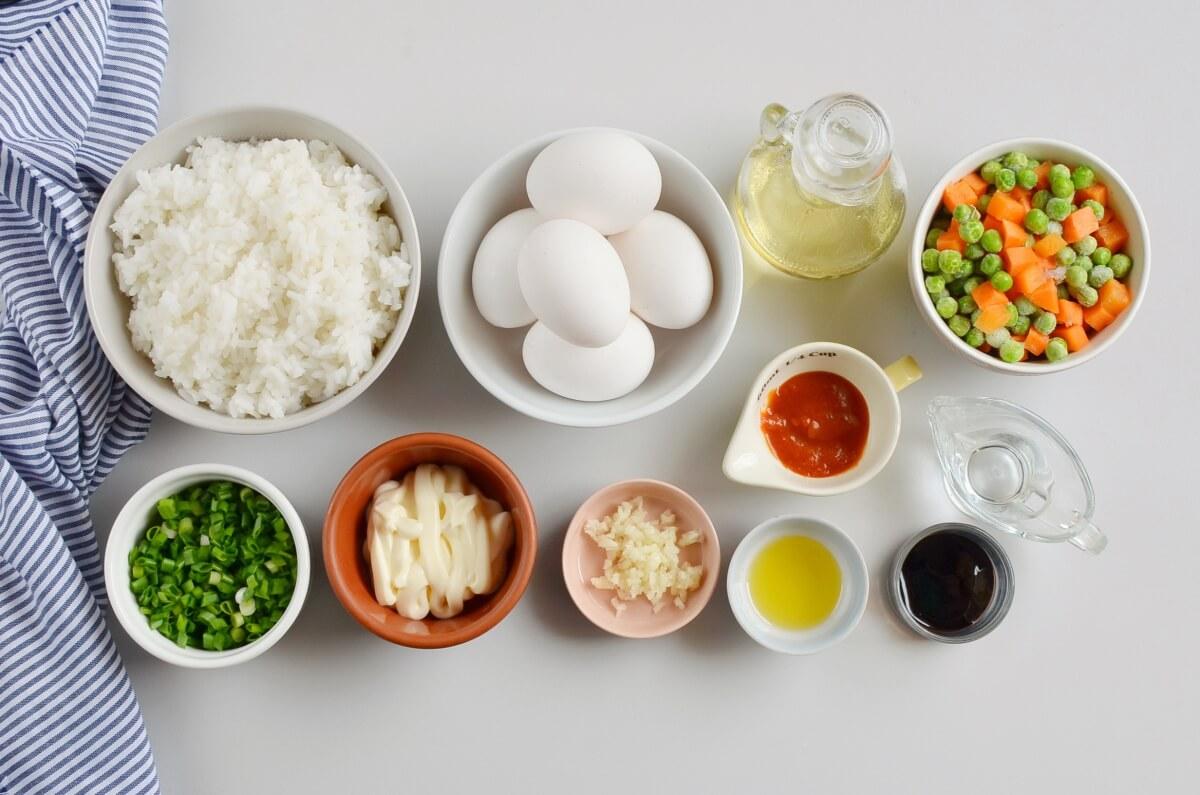 Ingridiens for Sheet Pan Fried Rice