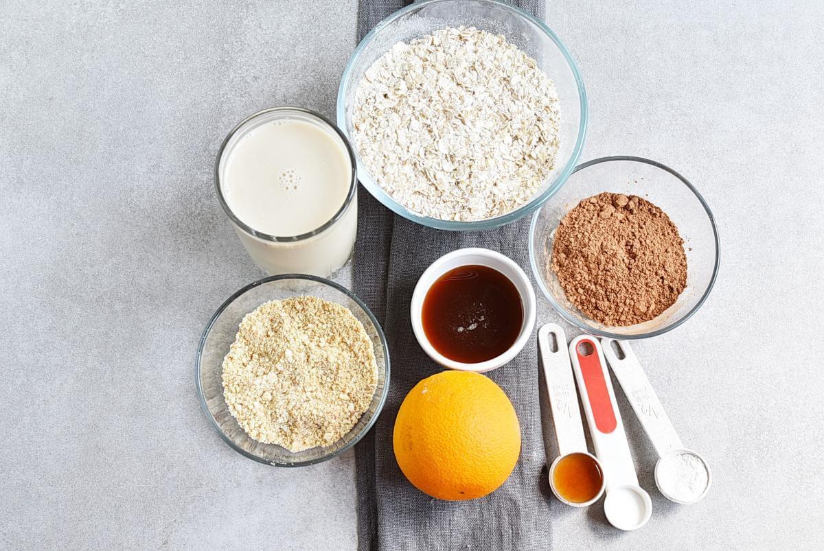 Ingridiens for Vegan Chocolate Orange Waffles
