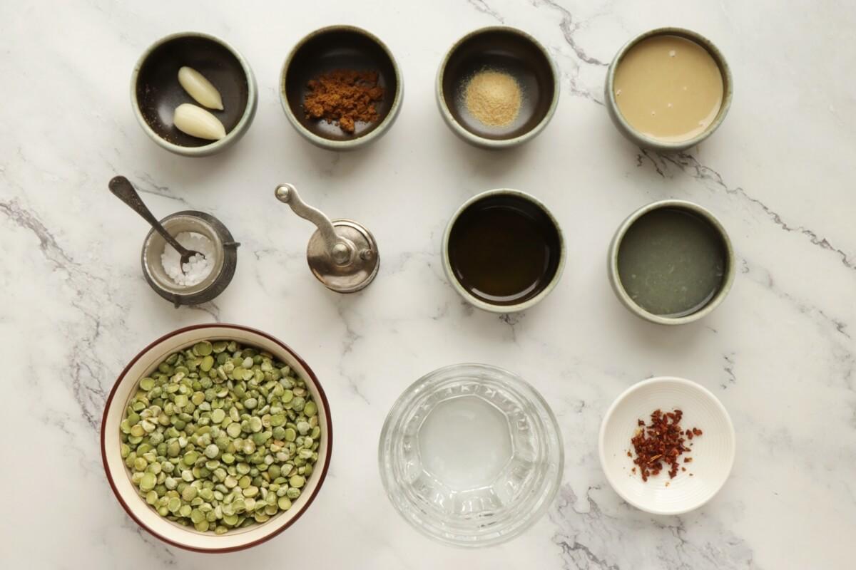 Ingridiens for Vegan Green Split Pea Hummus