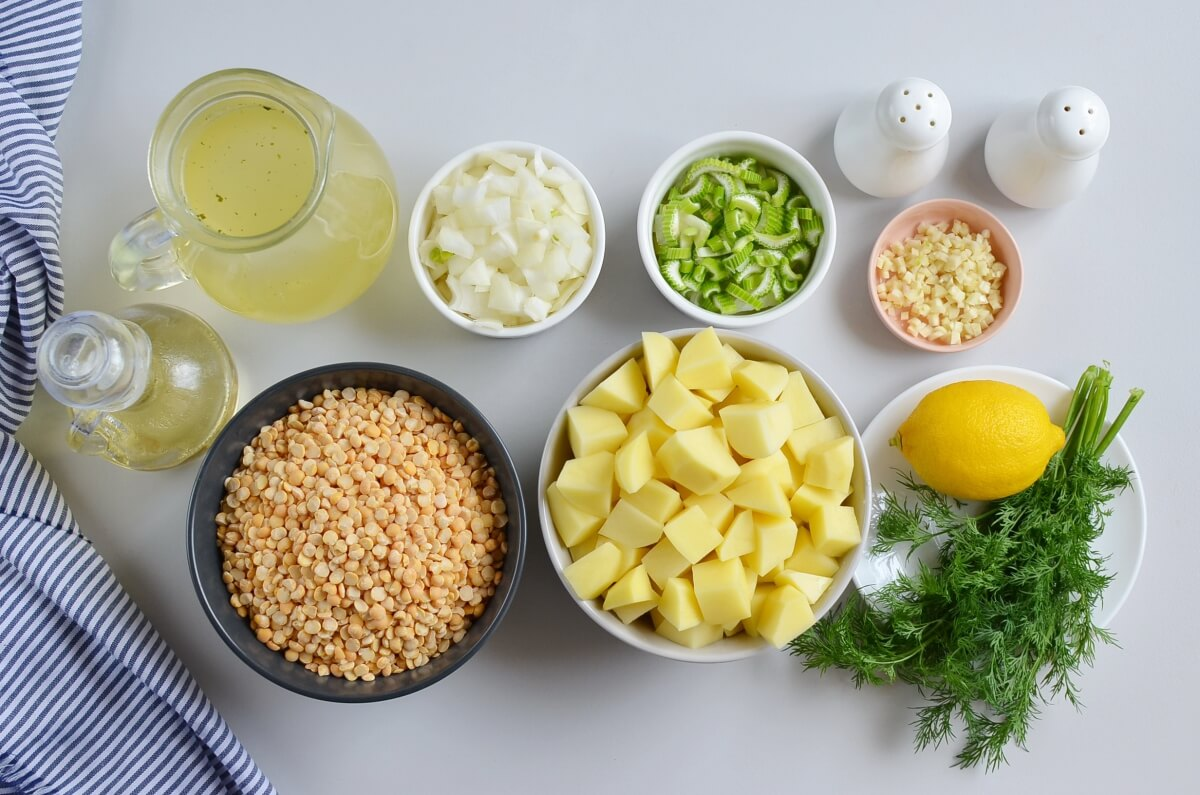 Ingridiens for Vegan Split Pea Soup with Potatoes