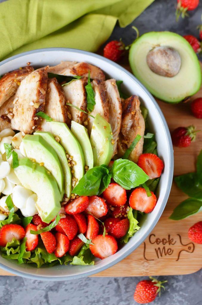 Balsamic Grilled Chicken Strawberry Caprese Salad