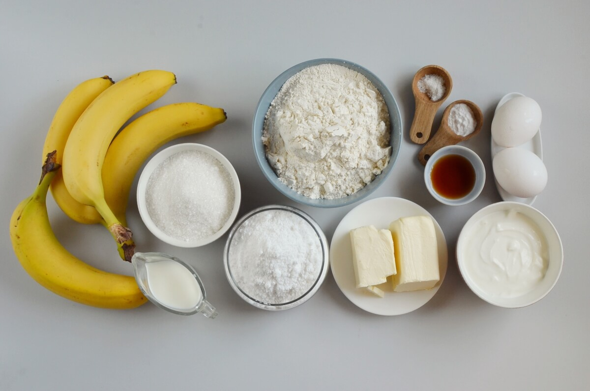 Ingridiens for Banana Bread with Brown Butter Frosting