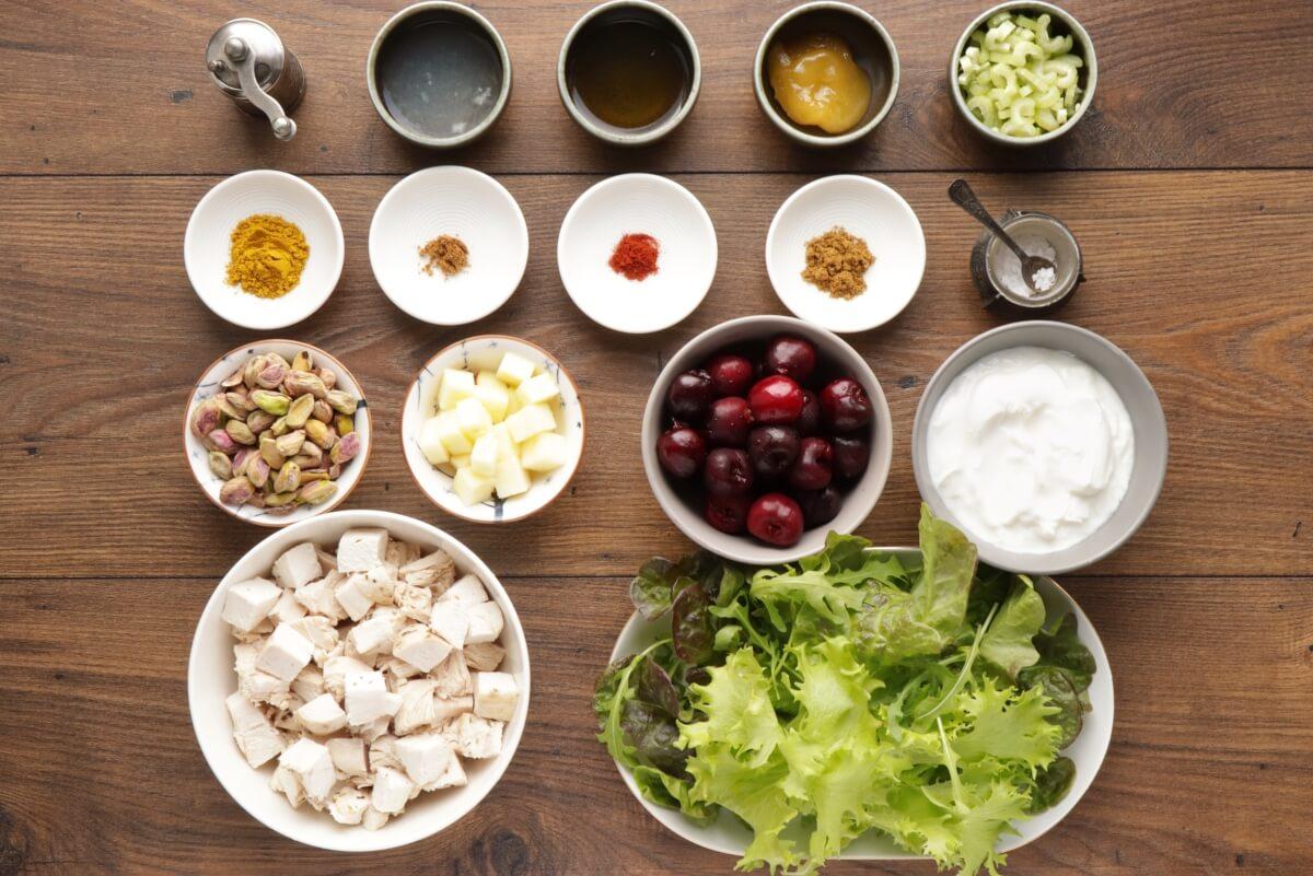 Ingridiens for Cherry Greek Yogurt Curry Chicken Salad