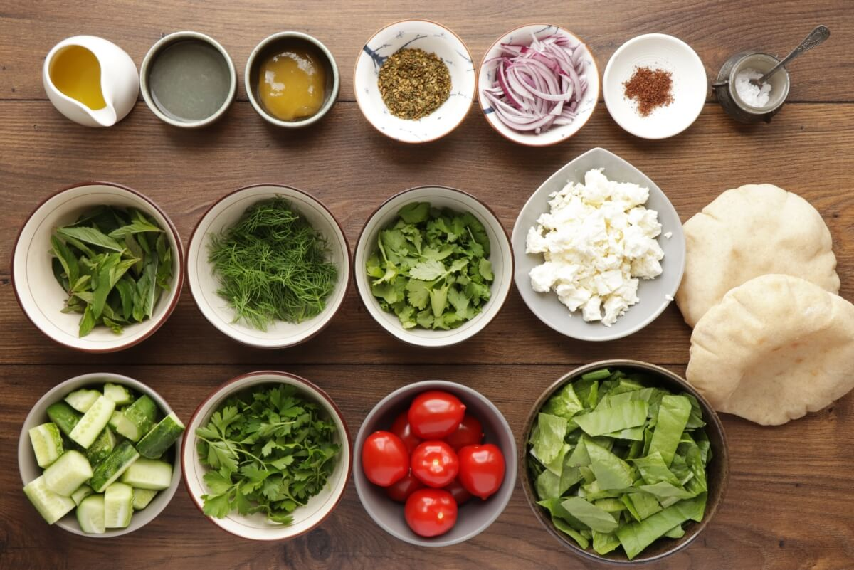 Ingridiens for Fattoush with Queso Fresco