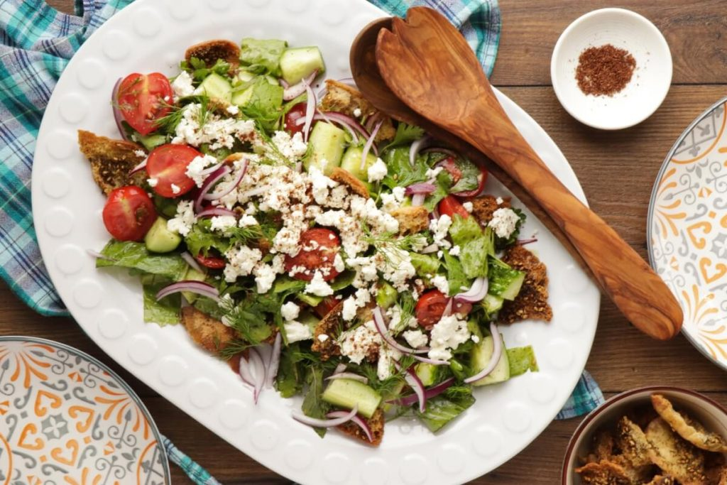 How to serve Fattoush with Queso Fresco